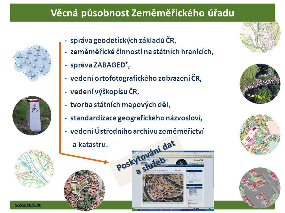 www.cuzk.cz4 Poskytování dat a služeb - správa geodetických základů ČR, - zeměměřické činnosti na státních hranicích, - správa ZABAGED ®, - vedení ort