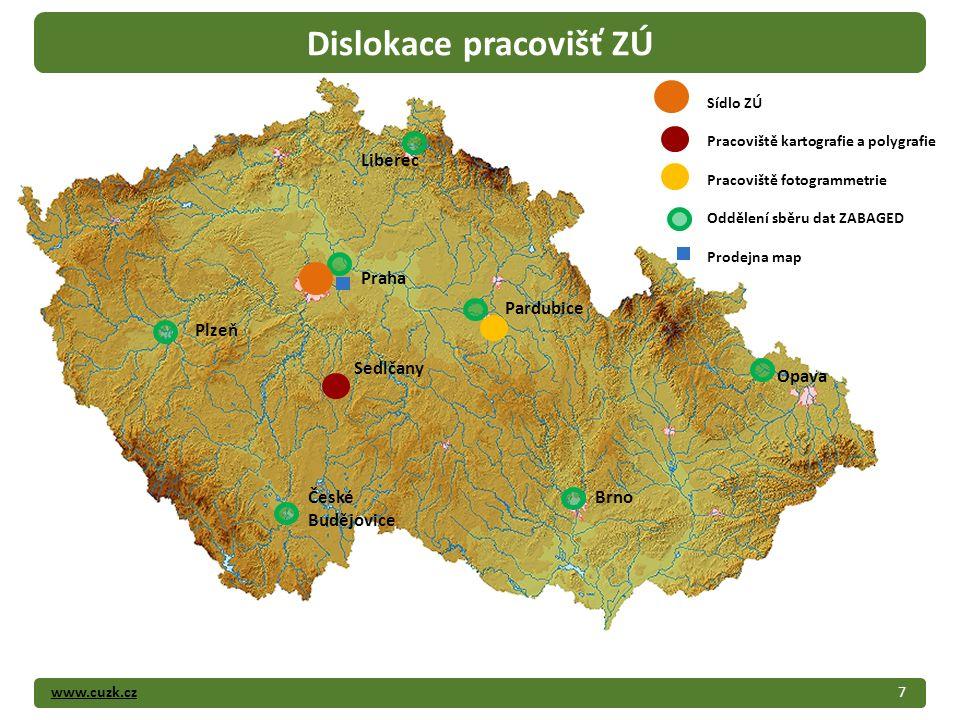 www.cuzk.cz7 Dislokace pracovišť ZÚ Liberec Plzeň Sedlčany České Budějovice Pardubice Brno Opava Praha Sídlo ZÚ Pracoviště kartografie a polygrafie Pr