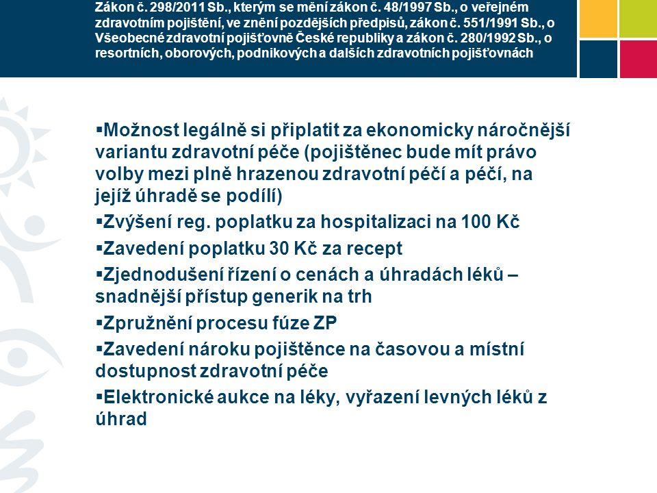 Zákon č. 298/2011 Sb., kterým se mění zákon č. 48/1997 Sb., o veřejném zdravotním pojištění, ve znění pozdějších předpisů, zákon č. 551/1991 Sb., o Vš