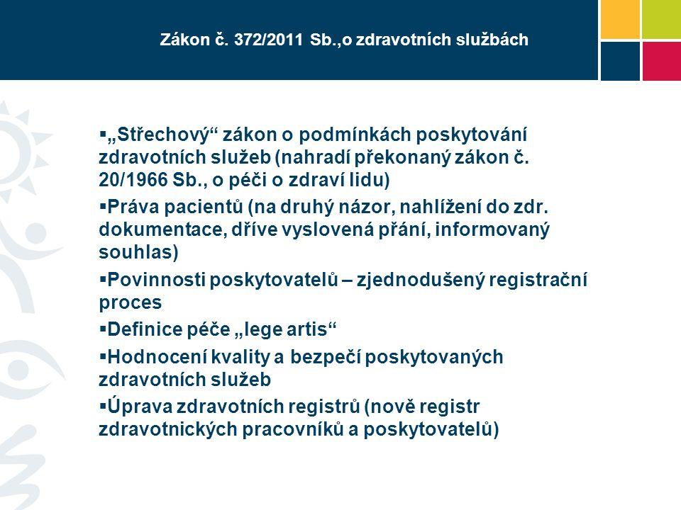 """Zákon č. 372/2011 Sb.,o zdravotních službách  """"Střechový"""" zákon o podmínkách poskytování zdravotních služeb (nahradí překonaný zákon č. 20/1966 Sb.,"""