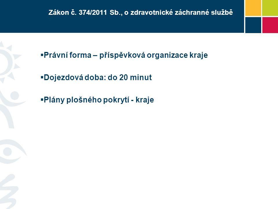 Zákon č. 374/2011 Sb., o zdravotnické záchranné službě  Právní forma – příspěvková organizace kraje  Dojezdová doba: do 20 minut  Plány plošného po