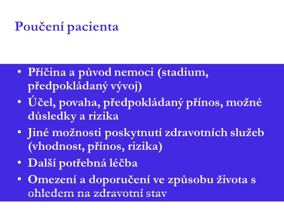Poučení pacienta Příčina a původ nemoci (stadium, předpokládaný vývoj) Účel, povaha, předpokládaný přínos, možné důsledky a rizika Jiné možnosti poskytnutí zdravotních služeb (vhodnost, přínos, rizika) Další potřebná léčba Omezení a doporučení ve způsobu života s ohledem na zdravotní stav