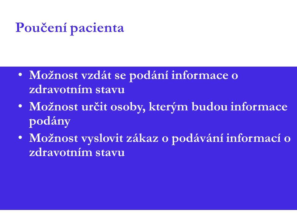 Poučení pacienta Možnost vzdát se podání informace o zdravotním stavu Možnost určit osoby, kterým budou informace podány Možnost vyslovit zákaz o podávání informací o zdravotním stavu