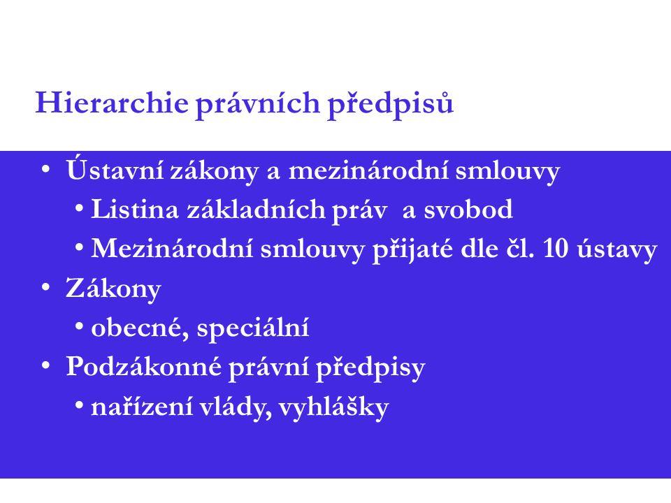 Hierarchie právních předpisů Ústavní zákony a mezinárodní smlouvy Listina základních práv a svobod Mezinárodní smlouvy přijaté dle čl.