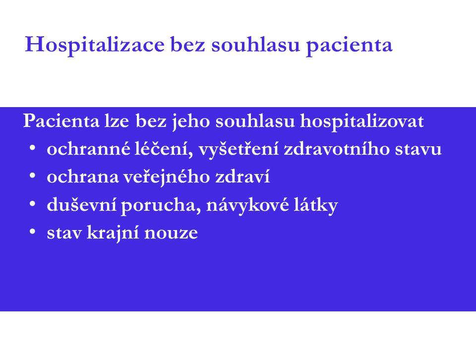 Hospitalizace bez souhlasu pacienta Pacienta lze bez jeho souhlasu hospitalizovat ochranné léčení, vyšetření zdravotního stavu ochrana veřejného zdrav