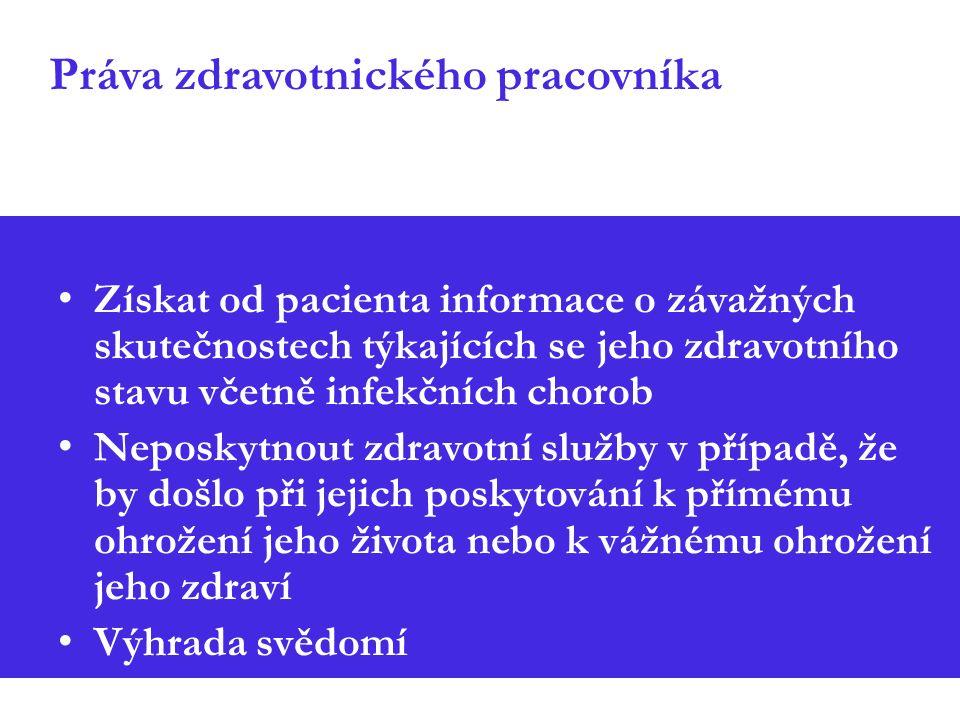 Práva zdravotnického pracovníka Získat od pacienta informace o závažných skutečnostech týkajících se jeho zdravotního stavu včetně infekčních chorob Neposkytnout zdravotní služby v případě, že by došlo při jejich poskytování k přímému ohrožení jeho života nebo k vážnému ohrožení jeho zdraví Výhrada svědomí