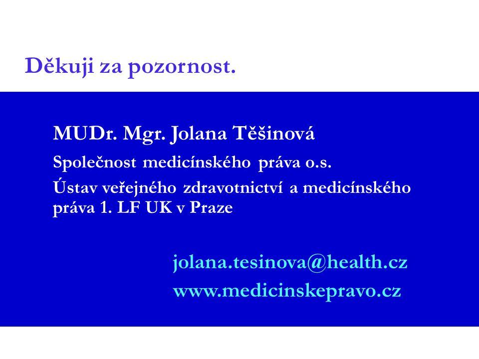 Děkuji za pozornost. MUDr. Mgr. Jolana Těšinová Společnost medicínského práva o.s. Ústav veřejného zdravotnictví a medicínského práva 1. LF UK v Praze