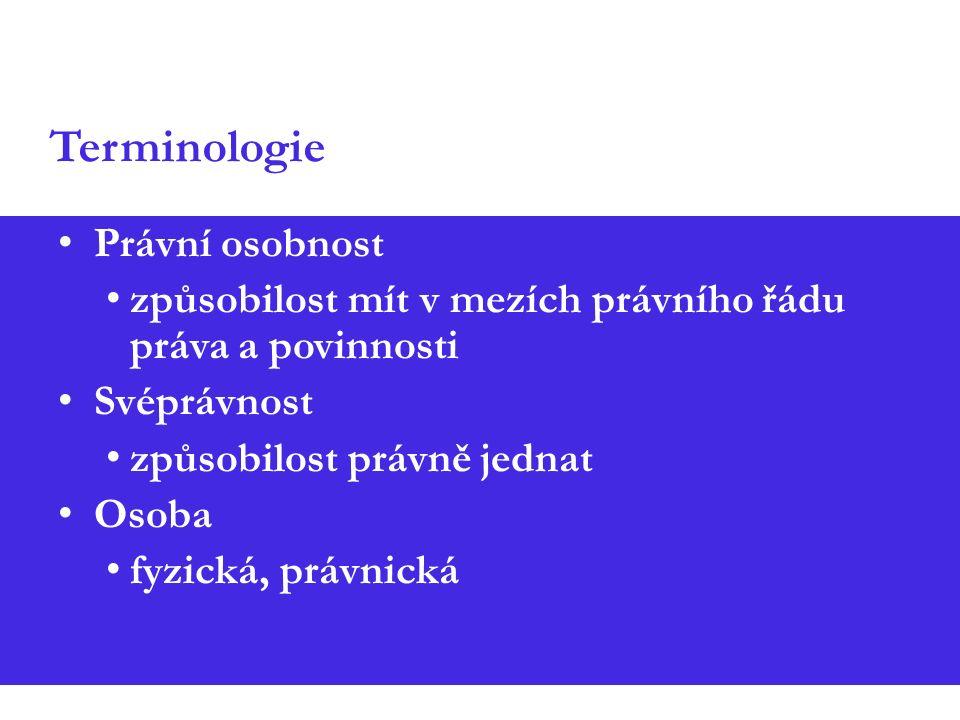 Terminologie Právní osobnost způsobilost mít v mezích právního řádu práva a povinnosti Svéprávnost způsobilost právně jednat Osoba fyzická, právnická