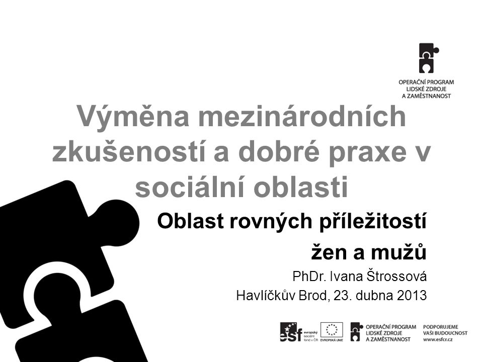 Výměna mezinárodních zkušeností a dobré praxe v sociální oblasti Oblast rovných příležitostí žen a mužů PhDr.