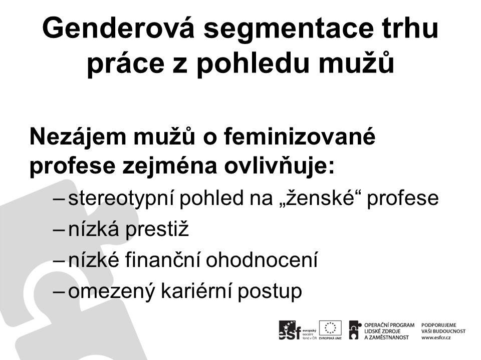 """Genderová segmentace trhu práce z pohledu mužů Nezájem mužů o feminizované profese zejména ovlivňuje: –stereotypní pohled na """"ženské profese –nízká prestiž –nízké finanční ohodnocení –omezený kariérní postup"""