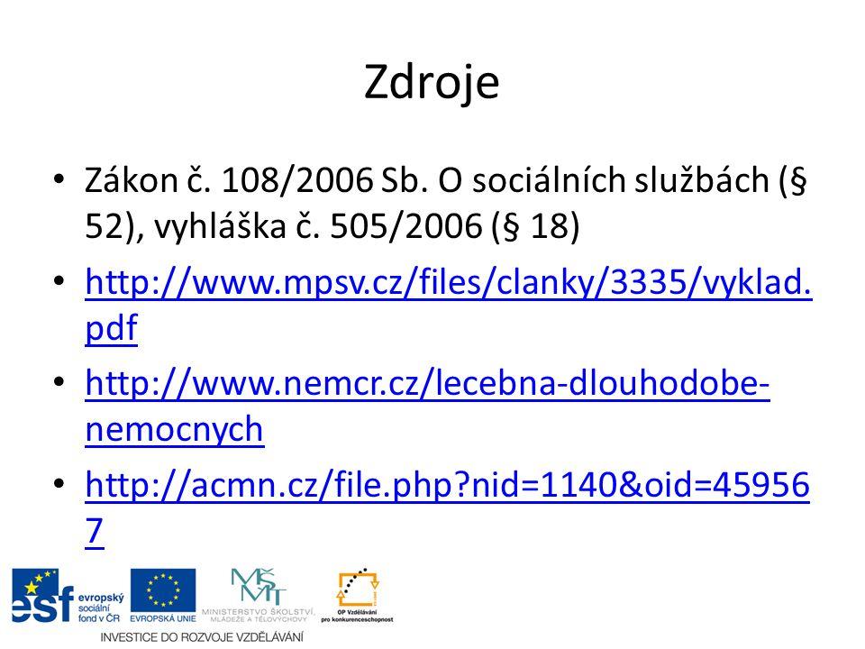Zdroje Zákon č. 108/2006 Sb. O sociálních službách (§ 52), vyhláška č. 505/2006 (§ 18) http://www.mpsv.cz/files/clanky/3335/vyklad. pdf http://www.mps