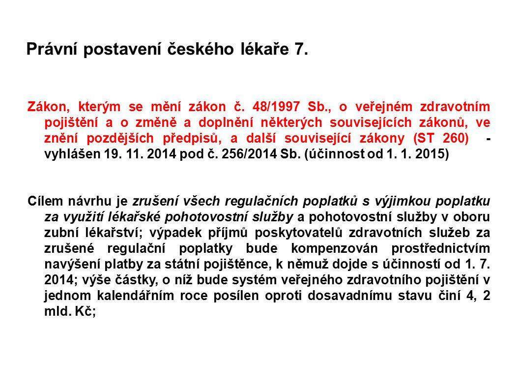 Právní postavení českého lékaře 7. Zákon, kterým se mění zákon č. 48/1997 Sb., o veřejném zdravotním pojištění a o změně a doplnění některých souvisej