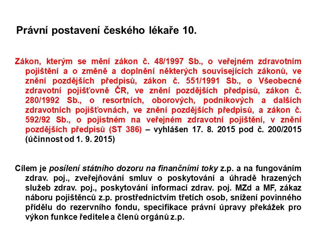 Právní postavení českého lékaře 10. Zákon, kterým se mění zákon č. 48/1997 Sb., o veřejném zdravotním pojištění a o změně a doplnění některých souvise