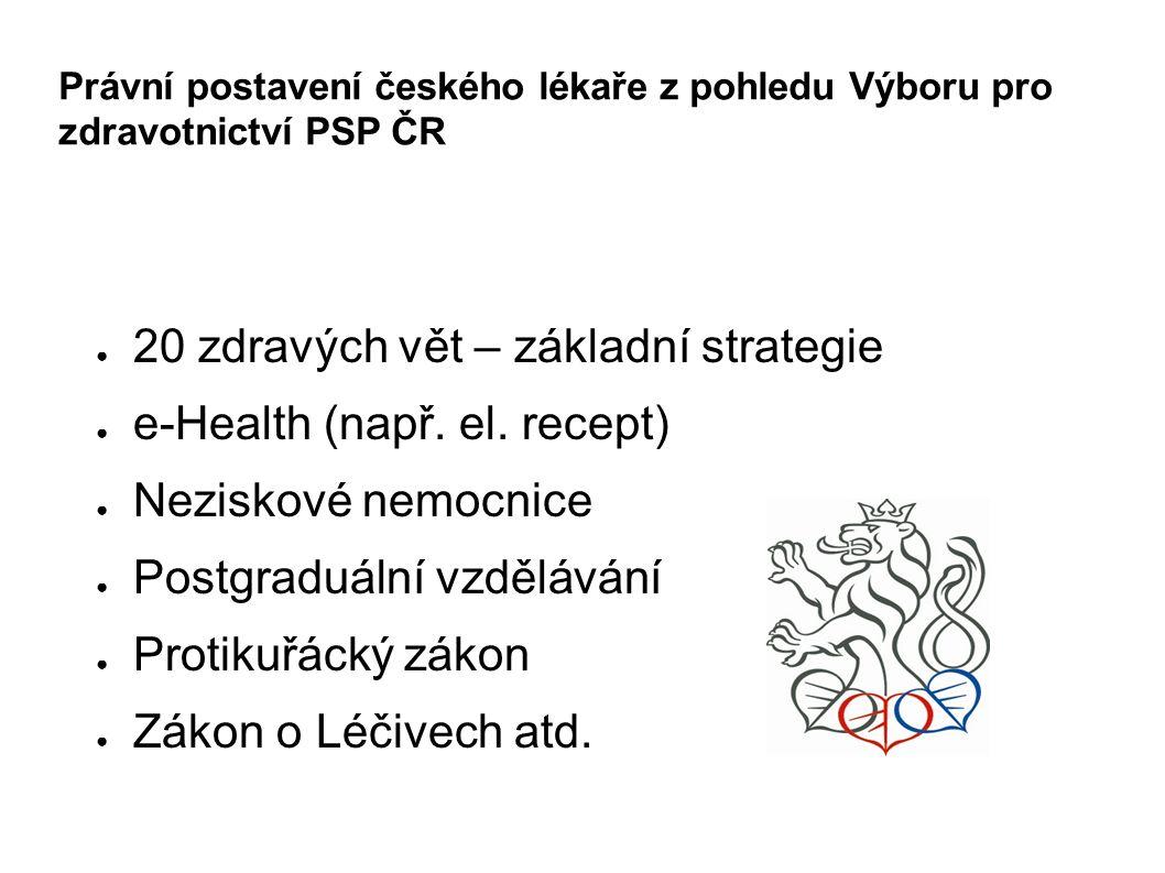Právní postavení českého lékaře z pohledu Výboru pro zdravotnictví PSP ČR ● 20 zdravých vět – základní strategie ● e-Health (např.