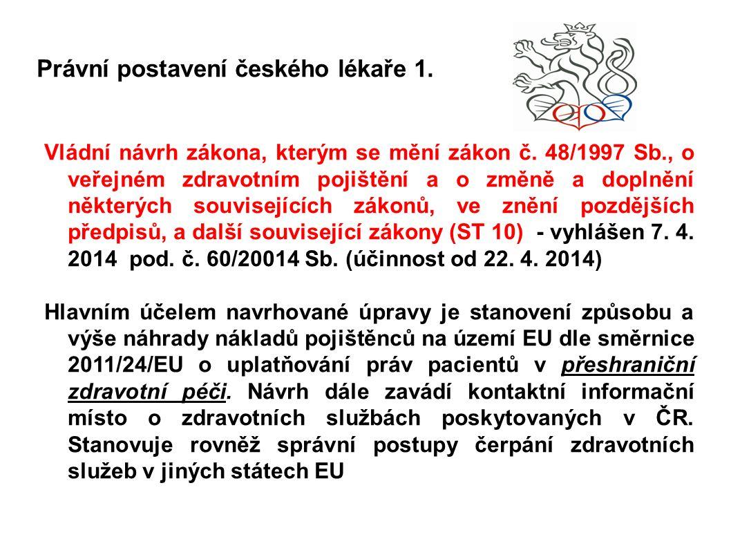 Právní postavení českého lékaře 1. Vládní návrh zákona, kterým se mění zákon č.