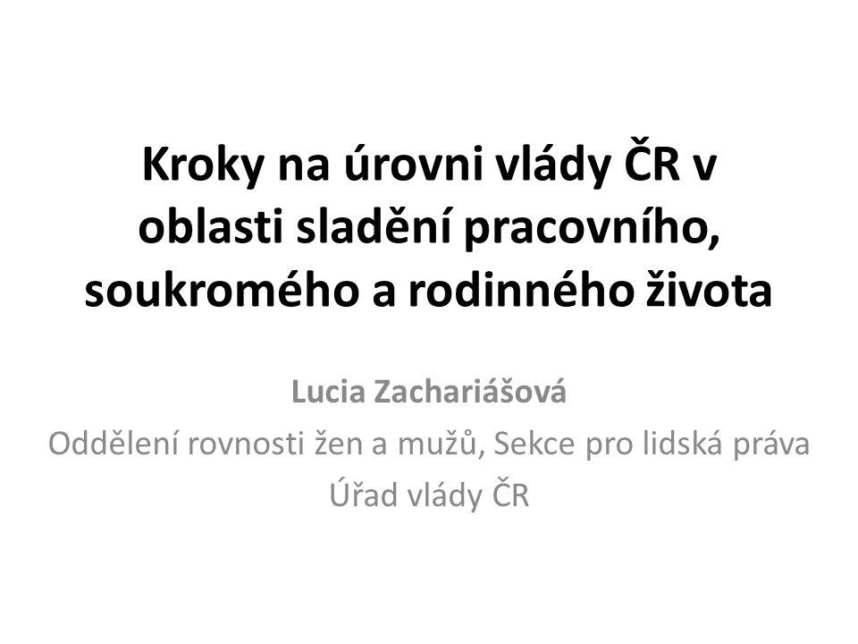 Kroky na úrovni vlády ČR v oblasti sladění pracovního, soukromého a rodinného života Lucia Zachariášová Oddělení rovnosti žen a mužů, Sekce pro lidská