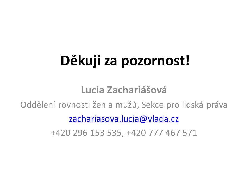 Děkuji za pozornost! Lucia Zachariášová Oddělení rovnosti žen a mužů, Sekce pro lidská práva zachariasova.lucia@vlada.cz +420 296 153 535, +420 777 46