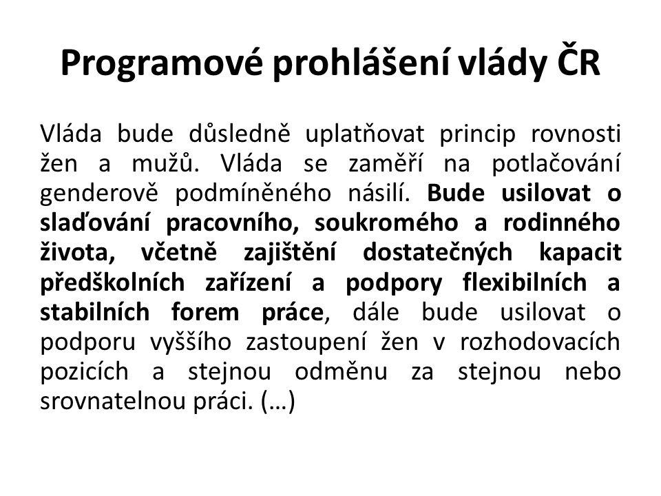 Programové prohlášení vlády ČR Vláda bude důsledně uplatňovat princip rovnosti žen a mužů. Vláda se zaměří na potlačování genderově podmíněného násilí