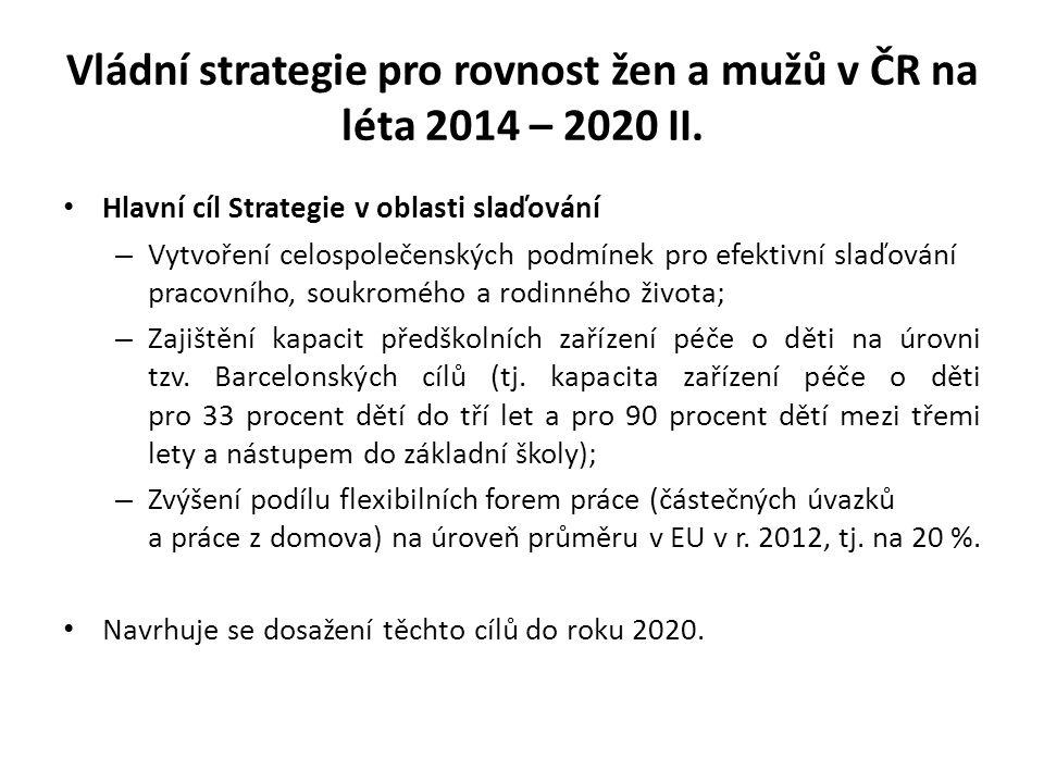 Vládní strategie pro rovnost žen a mužů v ČR na léta 2014 – 2020 II. Hlavní cíl Strategie v oblasti slaďování – Vytvoření celospolečenských podmínek p