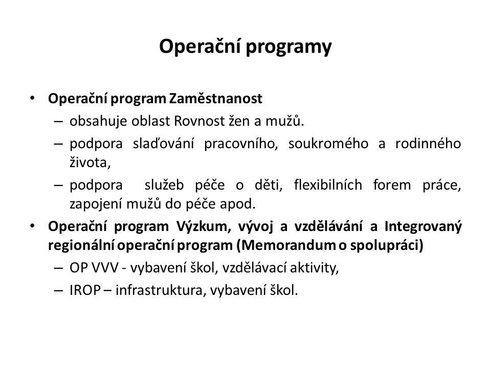 Operační programy Operační program Zaměstnanost – obsahuje oblast Rovnost žen a mužů. – podpora slaďování pracovního, soukromého a rodinného života, –