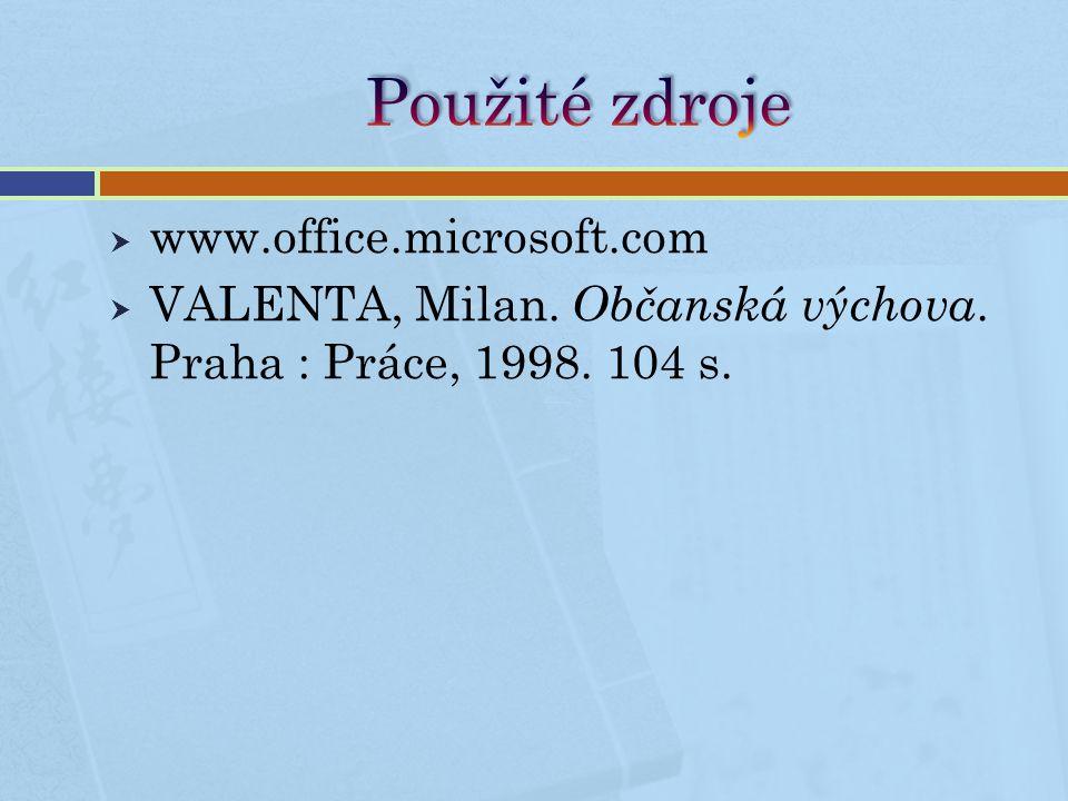  www.office.microsoft.com  VALENTA, Milan. Občanská výchova. Praha : Práce, 1998. 104 s.