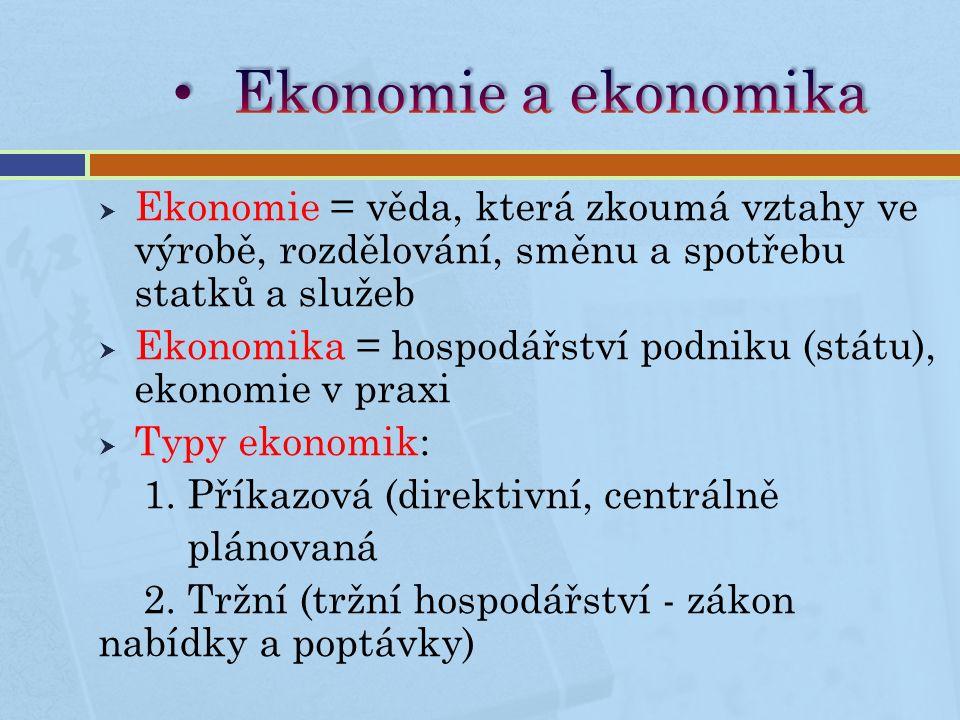  Ekonomie = věda, která zkoumá vztahy ve výrobě, rozdělování, směnu a spotřebu statků a služeb  Ekonomika = hospodářství podniku (státu), ekonomie v praxi  Typy ekonomik: 1.