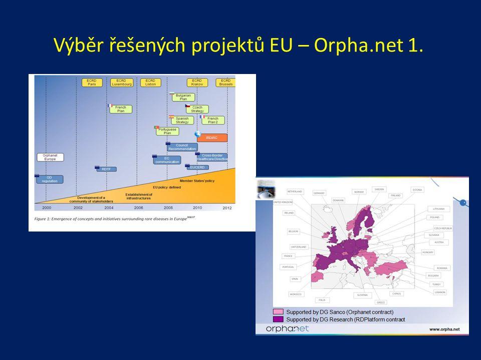 Výběr řešených projektů EU – Orpha.net 1.