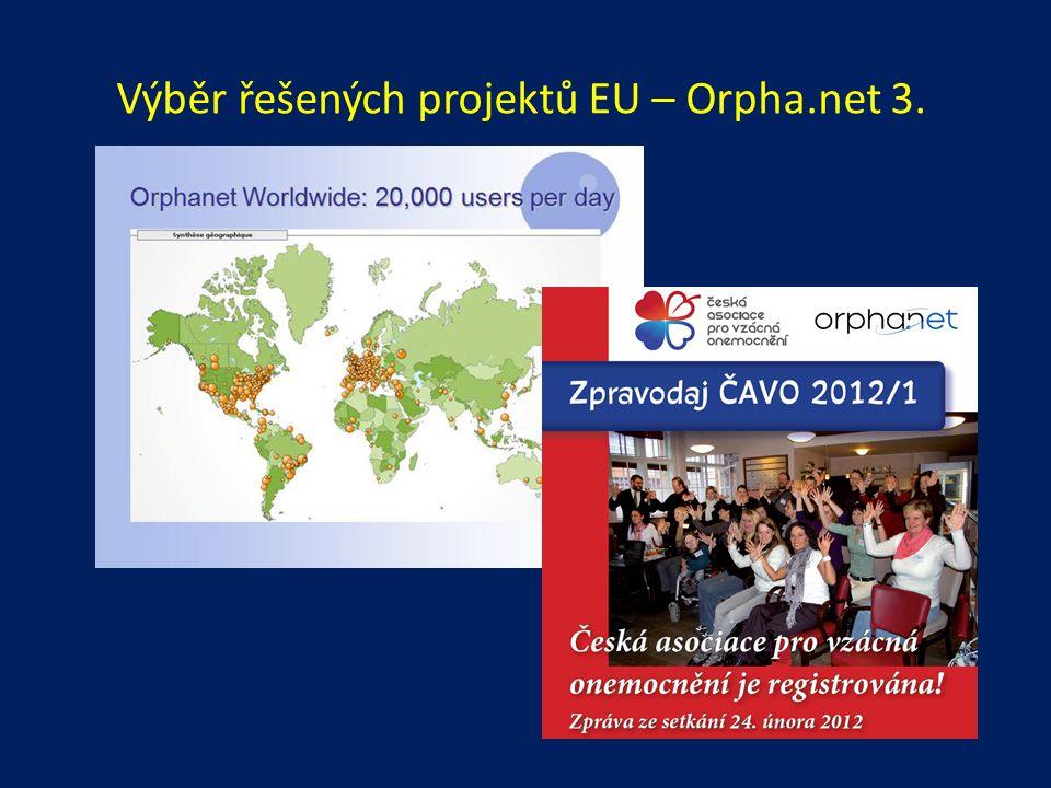 Výběr řešených projektů EU – Orpha.net 3.