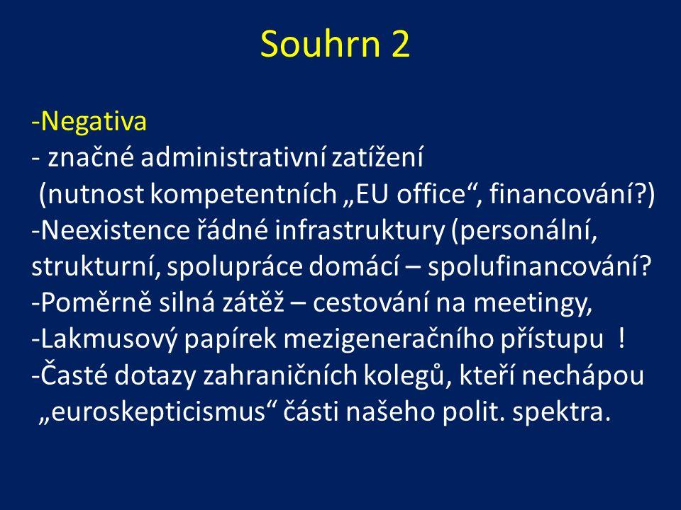 """-Negativa - značné administrativní zatížení (nutnost kompetentních """"EU office , financování ) -Neexistence řádné infrastruktury (personální, strukturní, spolupráce domácí – spolufinancování."""