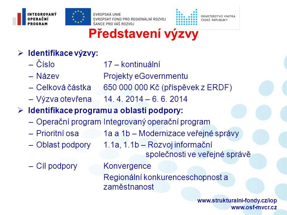 Představení výzvy  Identifikace výzvy: – Číslo 17 – kontinuální – NázevProjekty eGovernmentu – Celková částka 650 000 000 Kč (příspěvek z ERDF) – Výzva otevřena14.