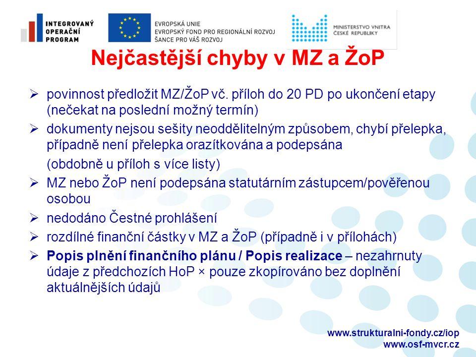 Nejčastější chyby v MZ a ŽoP  povinnost předložit MZ/ŽoP vč.