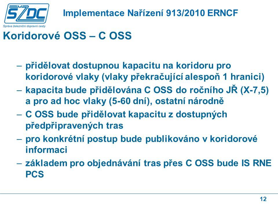 Koridorové OSS – C OSS –přidělovat dostupnou kapacitu na koridoru pro koridorové vlaky (vlaky překračující alespoň 1 hranici) –kapacita bude přidělována C OSS do ročního JŘ (X-7,5) a pro ad hoc vlaky (5-60 dní), ostatní národně –C OSS bude přidělovat kapacitu z dostupných předpřipravených tras –pro konkrétní postup bude publikováno v koridorové informaci –základem pro objednávání tras přes C OSS bude IS RNE PCS 12 Implementace Nařízení 913/2010 ERNCF