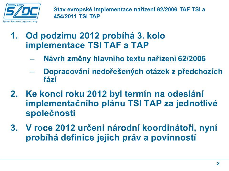 1.Od podzimu 2012 probíhá 3.