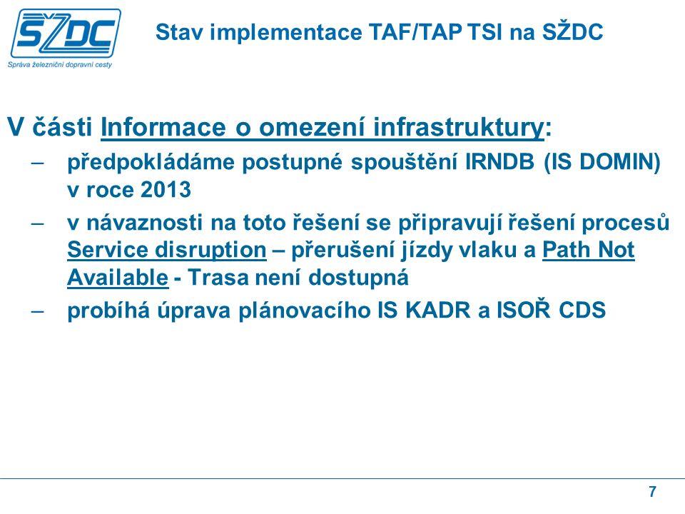 V části Informace o omezení infrastruktury: –předpokládáme postupné spouštění IRNDB (IS DOMIN) v roce 2013 –v návaznosti na toto řešení se připravují řešení procesů Service disruption – přerušení jízdy vlaku a Path Not Available - Trasa není dostupná –probíhá úprava plánovacího IS KADR a ISOŘ CDS 7 Stav implementace TAF/TAP TSI na SŽDC