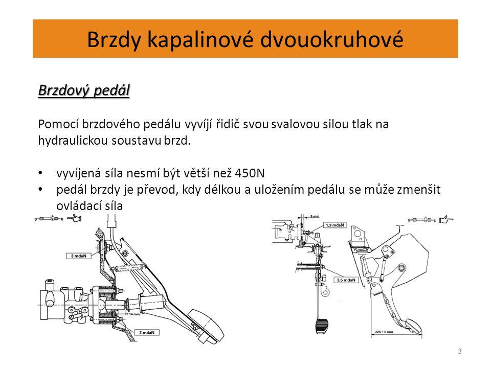 Brzdy kapalinové dvouokruhové 3 Brzdový pedál Pomocí brzdového pedálu vyvíjí řidič svou svalovou silou tlak na hydraulickou soustavu brzd. vyvíjená sí