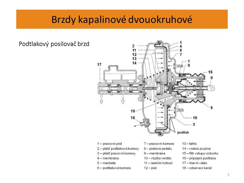 Brzdy kapalinové dvouokruhové 5 Podtlakový posilovač brzd