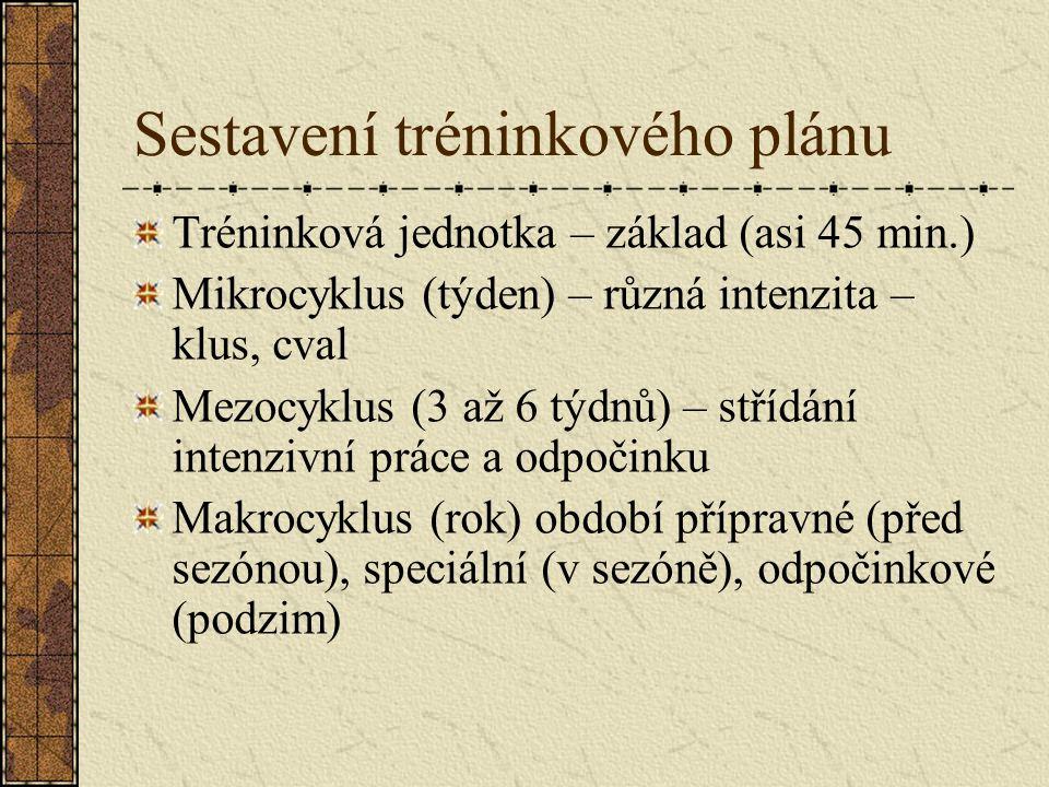 Sestavení tréninkového plánu Tréninková jednotka – základ (asi 45 min.) Mikrocyklus (týden) – různá intenzita – klus, cval Mezocyklus (3 až 6 týdnů) – střídání intenzivní práce a odpočinku Makrocyklus (rok) období přípravné (před sezónou), speciální (v sezóně), odpočinkové (podzim)