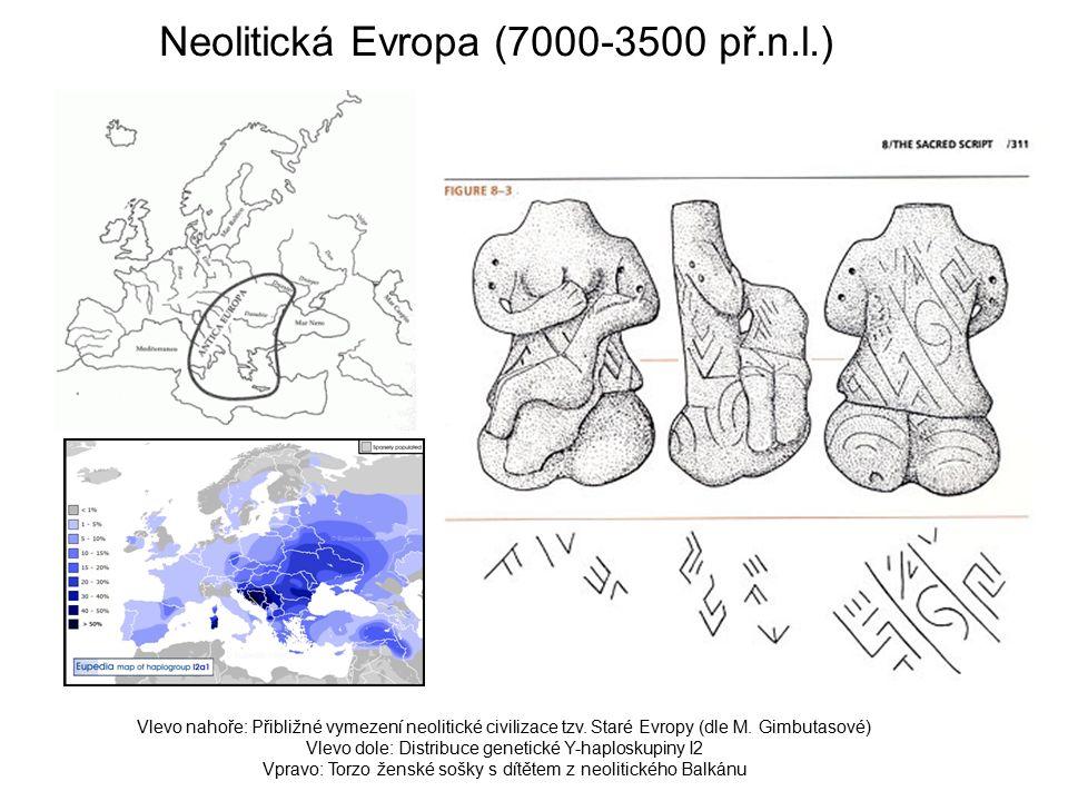 Neolitická Evropa (7000-3500 př.n.l.) Vlevo nahoře: Přibližné vymezení neolitické civilizace tzv.