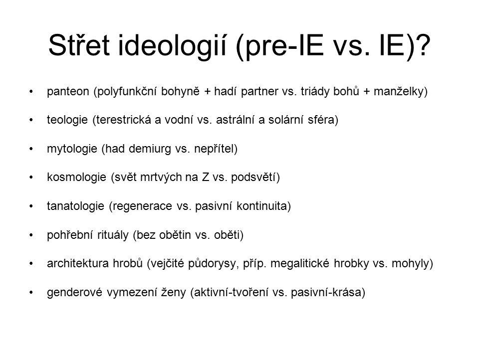 Střet ideologií (pre-IE vs.IE). panteon (polyfunkční bohyně + hadí partner vs.