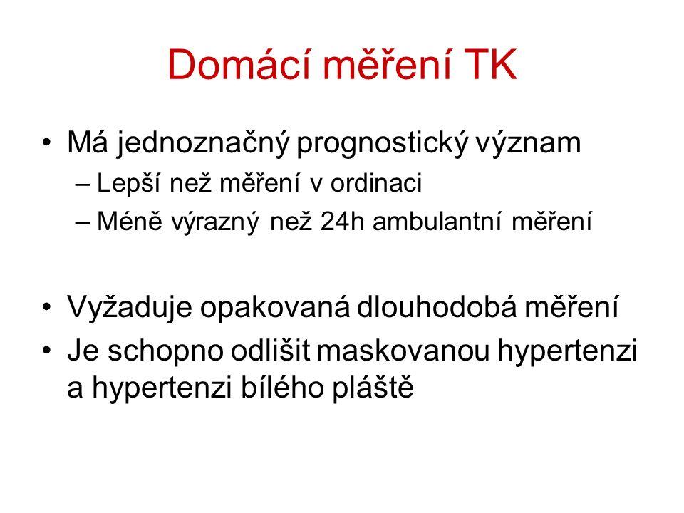 Domácí měření TK Má jednoznačný prognostický význam –Lepší než měření v ordinaci –Méně výrazný než 24h ambulantní měření Vyžaduje opakovaná dlouhodobá měření Je schopno odlišit maskovanou hypertenzi a hypertenzi bílého pláště