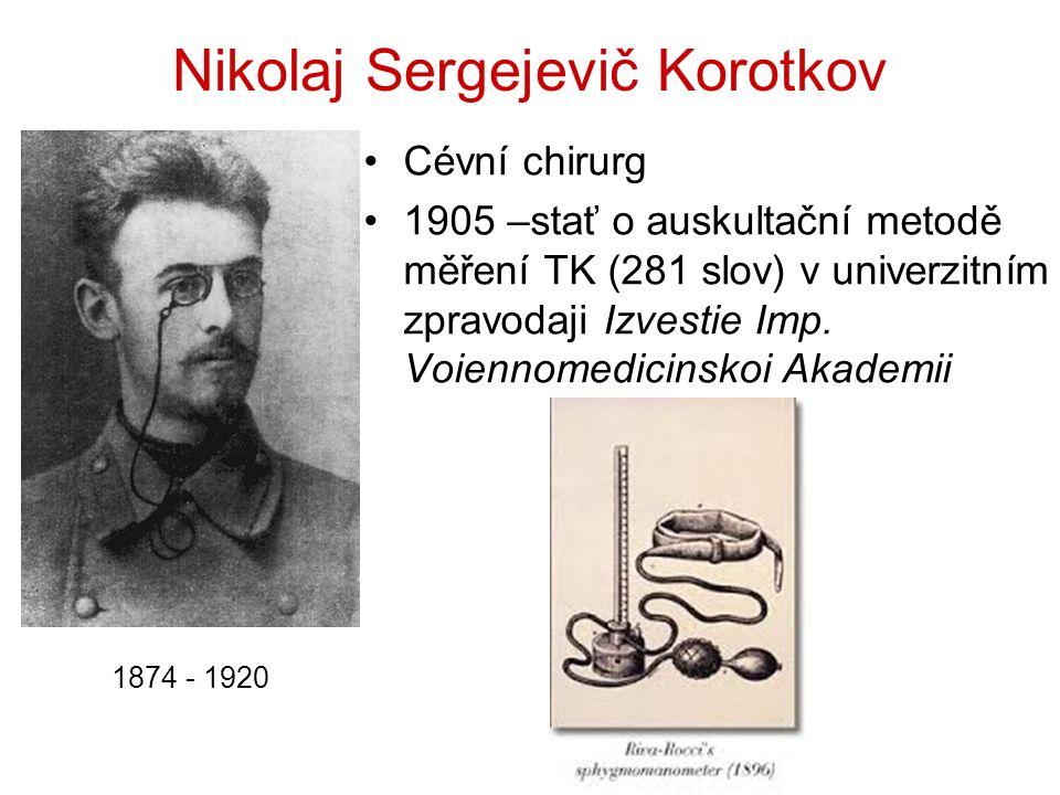 Nikolaj Sergejevič Korotkov Cévní chirurg 1905 –stať o auskultační metodě měření TK (281 slov) v univerzitním zpravodaji Izvestie Imp.