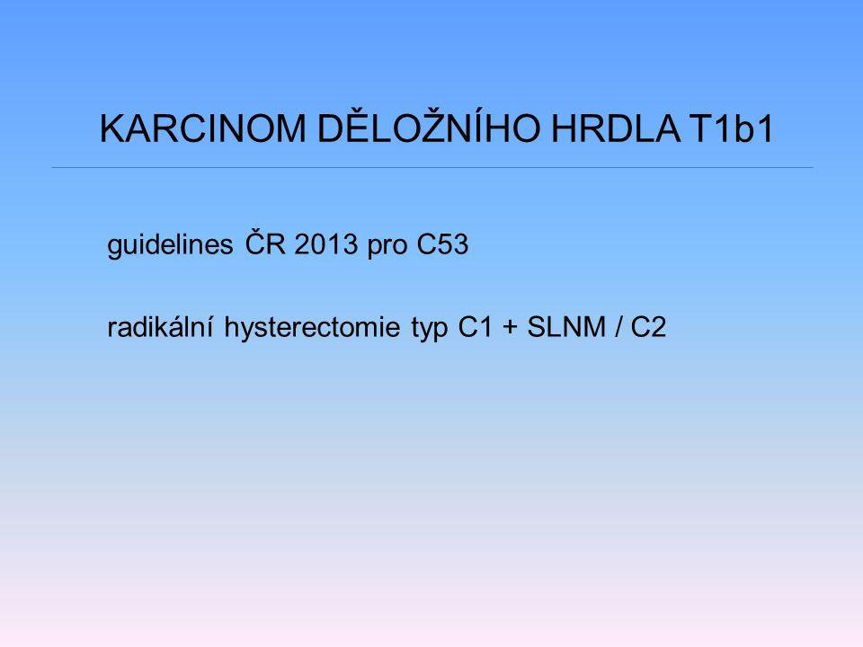 KARCINOM DĚLOŽNÍHO HRDLA T1b1 guidelines ČR 2013 pro C53 radikální hysterectomie typ C1 + SLNM / C2
