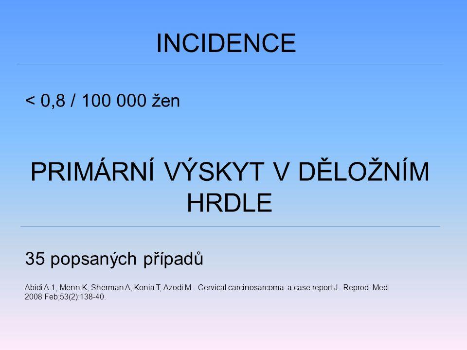 INCIDENCE < 0,8 / 100 000 žen PRIMÁRNÍ VÝSKYT V DĚLOŽNÍM HRDLE 35 popsaných případů Abidi A.1, Menn K, Sherman A, Konia T, Azodi M.