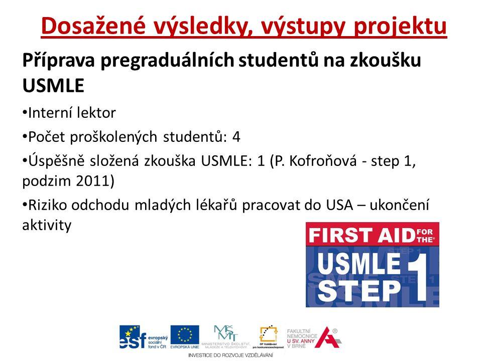 Dosažené výsledky, výstupy projektu Příprava pregraduálních studentů na zkoušku USMLE Interní lektor Počet proškolených studentů: 4 Úspěšně složená zkouška USMLE: 1 (P.