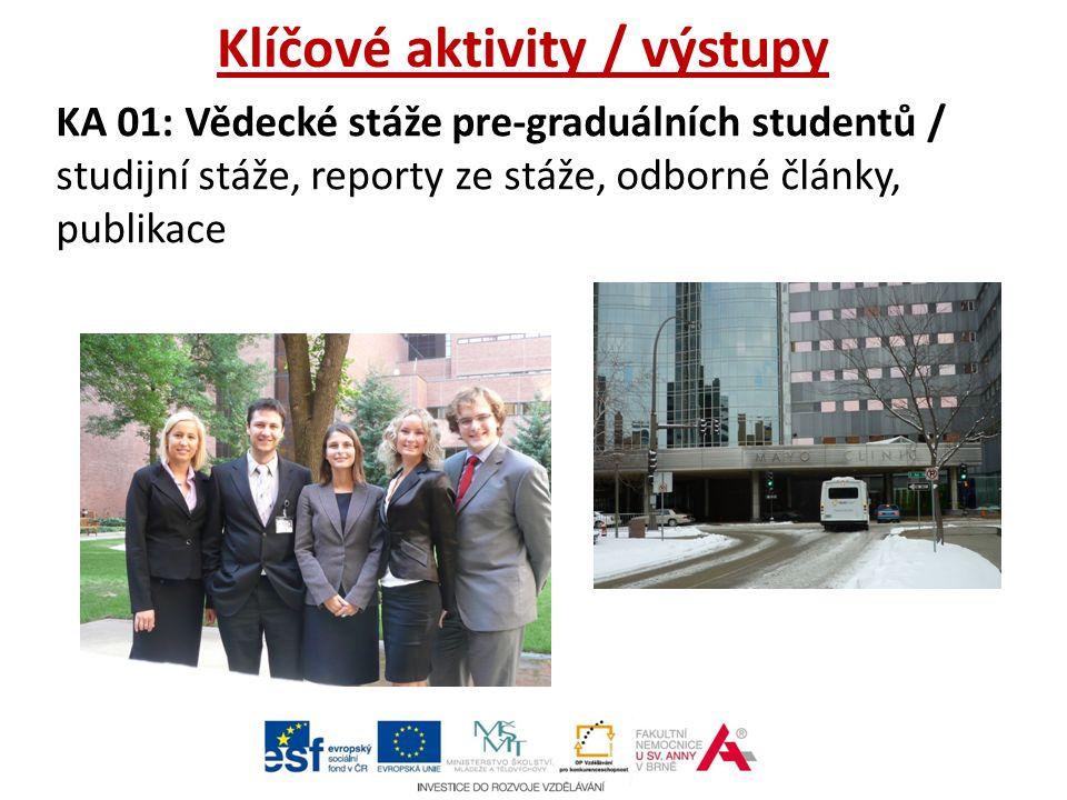 Klíčové aktivity / výstupy KA 01: Vědecké stáže pre-graduálních studentů / studijní stáže, reporty ze stáže, odborné články, publikace