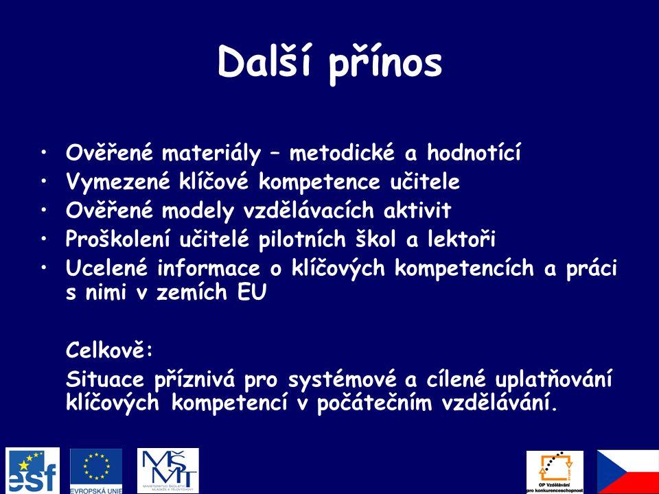 Další přínos Ověřené materiály – metodické a hodnotící Vymezené klíčové kompetence učitele Ověřené modely vzdělávacích aktivit Proškolení učitelé pilotních škol a lektoři Ucelené informace o klíčových kompetencích a práci s nimi v zemích EU Celkově: Situace příznivá pro systémové a cílené uplatňování klíčových kompetencí v počátečním vzdělávání.