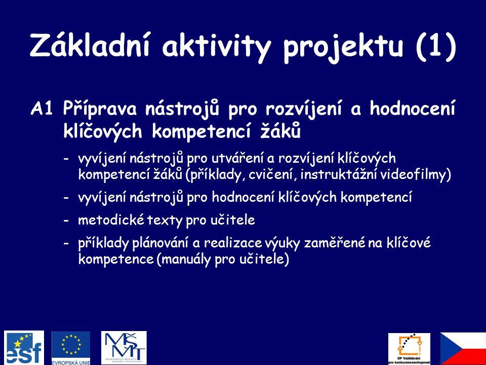 Základní aktivity projektu (1) A1Příprava nástrojů pro rozvíjení a hodnocení klíčových kompetencí žáků -vyvíjení nástrojů pro utváření a rozvíjení klíčových kompetencí žáků (příklady, cvičení, instruktážní videofilmy) -vyvíjení nástrojů pro hodnocení klíčových kompetencí -metodické texty pro učitele -příklady plánování a realizace výuky zaměřené na klíčové kompetence (manuály pro učitele)