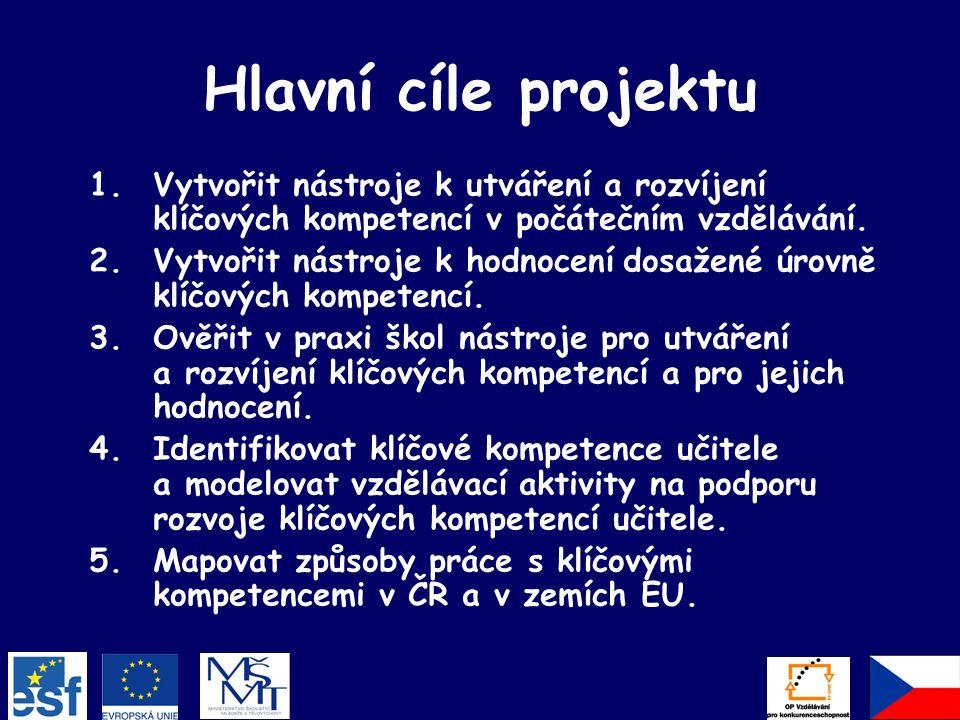 Hlavní cíle projektu 1.Vytvořit nástroje k utváření a rozvíjení klíčových kompetencí v počátečním vzdělávání.