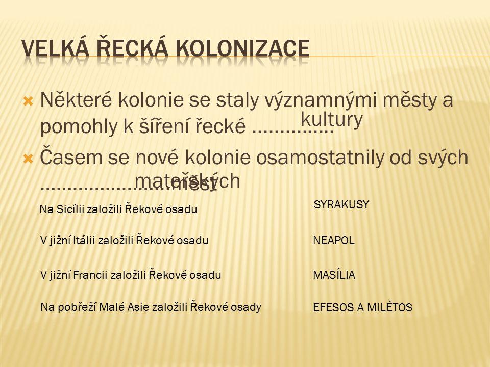  Některé kolonie se staly významnými městy a pomohly k šíření řecké...............