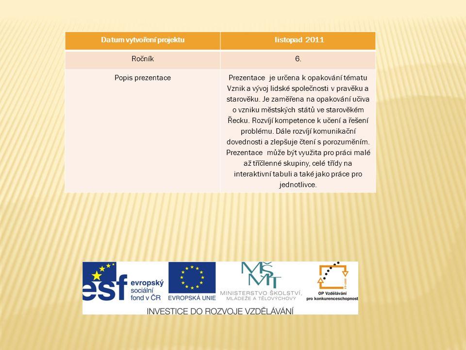 Datum vytvoření projektu listopad 2011 Ročník6. Popis prezentacePrezentace je určena k opakování tématu Vznik a vývoj lidské společnosti v pravěku a s